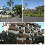 Da esquerda para direita: foto do terreno, com benfeitoria, localizado em Novo Hamburgo. Ao lado, o terreno localizado em Capão da Canoa. Na foto maior, o prédio, em Porto Alegre, onde está situado o apartamento que também será alienado